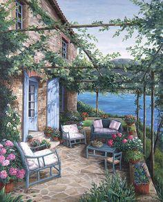 """Afternoon On The Terrace"" by Barbara Rosbe Felisky"