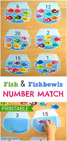 Fish and Fishbowls Number Match – Sandra @ Frogs and Fairies Fish and Fishbowls Number Match Do your kids need a fun a way to practice number sense? This adorable Fish and Fishbowls number match printable activity is a great way to help kids learn! Cognitive Activities, Fish Activities, Counting Activities, Preschool Activities, Teaching Numbers, Numbers Preschool, Preschool Learning, Kindergarten Math, Grande Section
