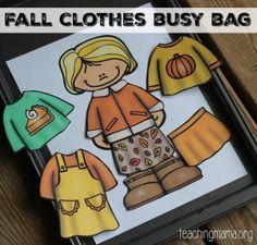 Otoño ropa de vestir para arriba bolsa Ocupado {libre} para imprimir