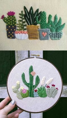 Cactus Embroidery, Mexican Embroidery, Basic Embroidery Stitches, Needlepoint Stitches, Embroidery Hoop Art, Embroidery Patterns, Punch Needle Patterns, Stitch Book, Little Cotton Rabbits