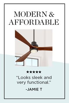 Smooth, handsome lines lend contemporary grace to this tasteful  ceiling fan from Casa Vieja and an integrated LED light adds energy-efficiency. 💡 Large Ceiling Fans, Delta Wing, Glass Diffuser, Energy Efficiency, Contemporary, Modern, Smooth, Handsome, Bronze