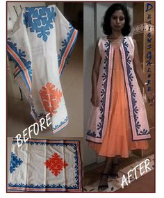 It was a dupatta/scarf, a gift from my best friend. Lovely hand appliqued border and buttas on it. Converted it into a pretty jacket / wrap. Very versatile!