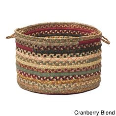 Colonial Mills Alexandra Braided Storage Basket (Red), Size 14 x 10 (Cotton)