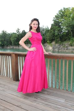 50s 60s prom cocktail party dress fuchsia pink by scarletfury on etsy