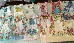 handkerchief dresses by Janice Mauldin Kennedy pattern from http://bumblebeelinens.com/blog/framed-origami-hankie-dress-tutorial/