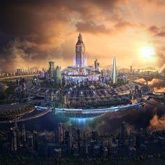 DreamState London & Mexico on Behance Cyberpunk City, Futuristic City, Futuristic Architecture, Art And Architecture, Fantasy Words, Fantasy City, Fantasy Castle, Dystopian Art, Aliens