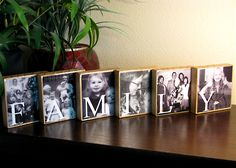 RESIN Sealed CUSTOM Decorative Photo and Word Wood Blocks - Family - Set of 6 - Gifts for Mom, Dad, Grandparents ETC. $60.00, via Etsy.