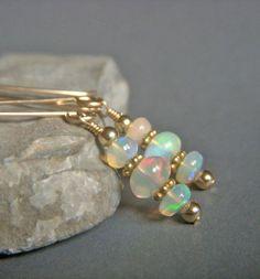 Genuine Opal Earrings on Goldfill . Petite Gold by beadstylin