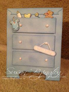A baby boy dresser card using Stampin' Up!  Baby Bundle stamp set.