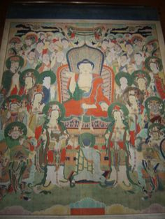 Buddhist Hanging Scroll at Cheongryongsa Temple, Joseon 1658, National Museum of Korea 2015. Think Indonesia Mahayana on sari, 17c Dutch group portrait, 19c William Morris, Hinayana (Theravada) Ferdinand Hodler, Der Auserwählte (The Consecrated One) II, ca.1903-06, tempera and oil on canvas, 219x296cm, Osthaus-Museums, Hagen.