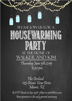 Housewarming party invitation DIY Party by chalkboarddesign