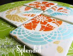Positively Splendid {Crafts, Sewing, Recipes and Home Decor}: DIY Painted Ceramic Tile Tutorial ~ I am SO in love with this site! Everything on here is great. Will be doing MANY of these projects!!