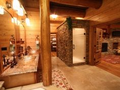 This is a dream bathroom in a dream master, simply gorgeous!    Magnificent Custom Log Home