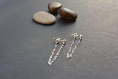 Sterling silver chain earrings silver ear jacket by LeSilveStone