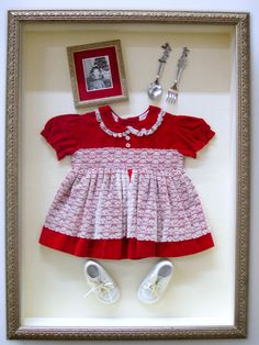Athens Art & Frame - Childhood Memorabilia Shadow Box More Z Shadow Box Memory, Shadow Box Frames, Frame Crafts, Vintage Crafts, Newborn Outfits, Displaying Collections, Photo Displays, Box Art, Custom Framing