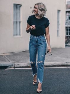 50 Best Outfits to Wear Vintage High Waisted Jeans in Style - Herren- und Damenmode - Kleidung Mode Outfits, Casual Outfits, Summer Outfits, Casual Attire, School Outfits, Gym Outfits, Casual Clothes, Outfit Ideas Summer, Casual Date Night Outfit Summer