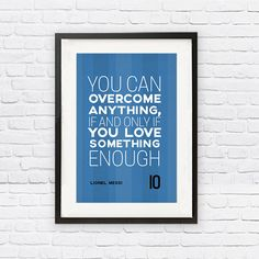 Lionel Messi #10 FC Barcelona Inspirational Love Quote Poster Print | Soccer Memorabilia | Wall Art for Soccer Fans