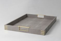 Unique shagreen & brass tray. Luxury shagreen & brass tray. Home…