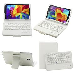 """SUPERNIGHT Samsung Galaxy Tab S 8.4 Case with Keyboard - Ultra Slim Detachable Bluetooth Keyboard Portfolio Leather Case Cover for Samsung Tab S 8.4"""" Inch T700 T705 Tablet , With Remote Control Camera Shutter Release Self Timer Feature - White Color SUPERNIGHT"""