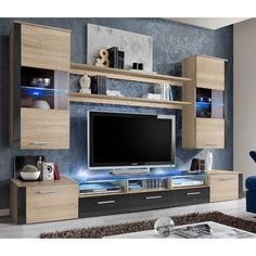 Tv unit storage - living room modern wall units : high gloss, black, white, red IdeaForHome