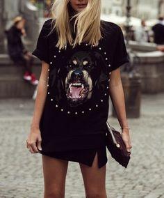 Givenchy Tee T Shirt Roti Rottweiler, Black Skirt, Rock Chic