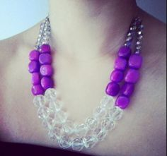 Lavender Purple Multi Strand Statement Necklace by GrevinaDesigns, $43.00