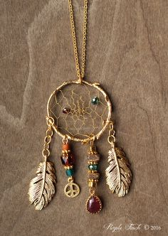 "Couture Matte Gold Birds Nest Dreamcatcher Necklace Dream Catcher Approx. 24"" by PurpleFinchStore on Etsy https://www.etsy.com/listing/478541962/couture-matte-gold-birds-nest"
