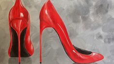 Sexy Red Stilettos Acrylic Painting Tutorial How to Paint Women's High H...