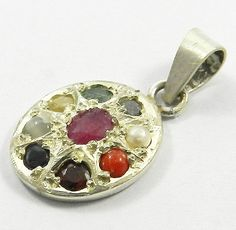 1Pc! Certified 925 Sterling Silver Navratna Gemstone Oval Shape Pendant Jewelry #MagicalCollection #Pendant