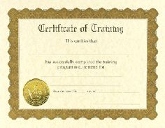 Training Certificates - 6 count - $3.95 - Training certificates from Great Papers. Large quantity discount. 60lb text 8.5 x 11 printable certificates of training.