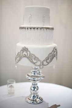 {Cake} Dripping with jewels!- art deco: fringe, rhinestones, silver, arched shapes