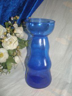 antikes , seltenes, bauchiges Hyazinthenglas - blau