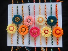 Want to surprise your brother with hand made rakhi on this raksha bandhan festival. Here is 9 creative and beautiful ideas about how to make hand made rakhi Raksha Bandhan Photos, Raksha Bandhan Cards, Handmade Rakhi Designs, Handmade Design, Embroidery Bags, Hand Embroidery Designs, Quilling Rakhi, Rakhi Cards, Rakhi Making