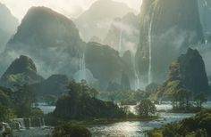 Digital Matte Painting - The Art of Dylan Cole Fantasy Art Landscapes, Fantasy Landscape, Landscape Art, Beautiful Landscapes, Fantasy Concept Art, Fantasy Artwork, Environment Concept Art, Environment Design, Fantasy Places