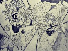 Meliodas e Elizabeth Fairy Tail Natsu And Lucy, Fairy Tail Manga, Seven Deadly Sins Anime, 7 Deadly Sins, Meliodas And Elizabeth, Demon Drawings, Blue Exorcist Anime, Seven Deady Sins, Fairy Tail Couples