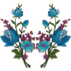 Pair of Flower Embroidered Patches Iron Sew On Floral Patch Craft Applique Motif