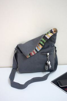 Beverly in grey/ teal lining - flap top messenger - reserved for christineheckel