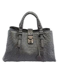 Bottega Veneta Roma Grey Ostrich Satchel Luxury Handbags 947f14bc8e10c
