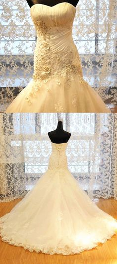 Elegant Appliques Strapless Bride Dress, Beading Mermaid Wedding Dress, Luxury Bride Gowns