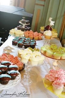 Cupcake display...different cake plates on every table!!