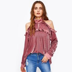 ALEPH COLLECTION is an online store that offers fashionable and trendy clothing and accessories for women. Velvet Tops, Top P, No Frills, Trendy Outfits, Ruffle Blouse, Clothes, Collection, Women, Fashion