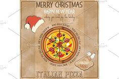 Christmas Pizza Menu by elfivetrov on @creativemarket