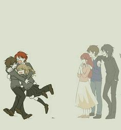 Harry Potter, Ron Weasley, Hermione Granger, Lily Potter, James Potter and Sirius Black. Fanart Harry Potter, Mundo Harry Potter, Theme Harry Potter, Harry Potter Marauders, Harry Potter Drawings, Harry Potter Artwork, Harry Potter Love, Harry Potter Fandom, Harry Potter Universal