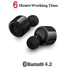 Wireless Headsets Bluetooth V4.2 Stereo Surround Sound Earphones with Micr for iPhone Samsung - Black