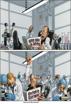 """Haderer-Karikatur vom 1. November 2014: """"Neues aus der Ebola-Forschung"""" Mehr Karikaturen auf: http://www.nachrichten.at/nachrichten/fotogalerien/cme14862,1168047 (Bild: Haderer)"""