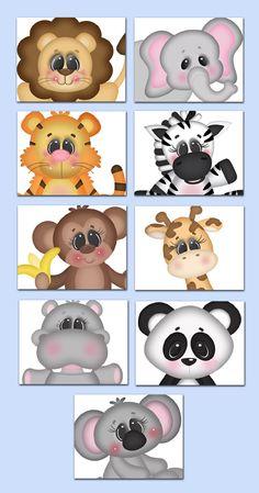 Safari Animals 8x10 Wall Art Prints for baby girl or boy jungle nursery room, children's bedroom, or bathroom #decampstudios