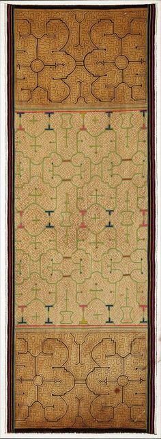 Two Shipibo Dyed and Woven Cotton Textiles, Peru, each of rectangular form with geometric designs, each mounted on stretched canvas, overall 69 in. x 25 1/2 in. and 56 in. x 27 in