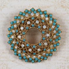 Turquoise Jewelry Necklace Vintage Sarah Coventry Turquoise and Opal Gold Filigree Circle Brooch - Vintage Turquoise Jewelry, Coral Turquoise, Antique Jewelry, Vintage Jewelry, Turquoise Jewellery, I Love Jewelry, Fine Jewelry, Jewelry Design, Jewelry Making