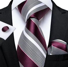 Mens Wedding Ties, Wedding Bands, Mens Silk Ties, Men Ties, Business Mode, Cufflink Set, Tie Set, Well Dressed Men, Bordeaux