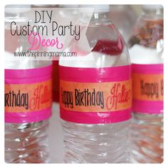 Coolest technique for using Infinity markers to make perfect lettering on these DIY water bottle labels! Quick and Easy DIY Party Decor by www.thepinningmam...